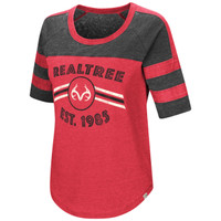 Women's Double Stripe Burnout Shirt Red Image
