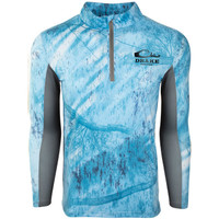 Drake Shield 4  Arched Mesh Back 1/4 Zip in Blue/Gray