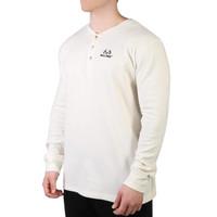 Men's Longsleeve White Thermal Henley Side