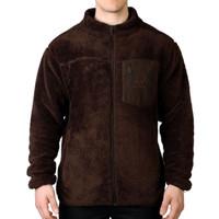 Men's Sherpa Fleece Full Zip Jacket with Media Pocket in Brown