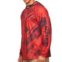 Cast Performance Long Sleeve Hooded Pullover in Red