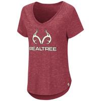 Women's Red V-Neck Short Sleeve Shirt