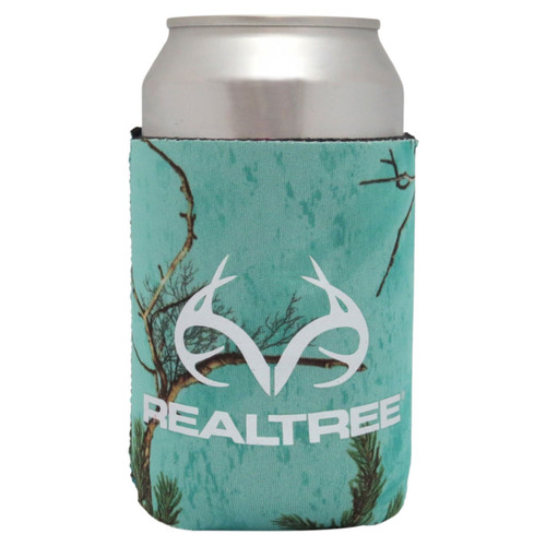 Realtree Antler Logo Can Koozies Xtra Seaglass