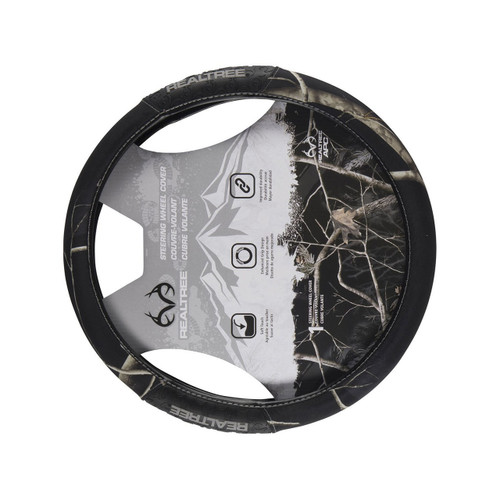 Realtree Black 2-Grip Steering Wheel Cover Front