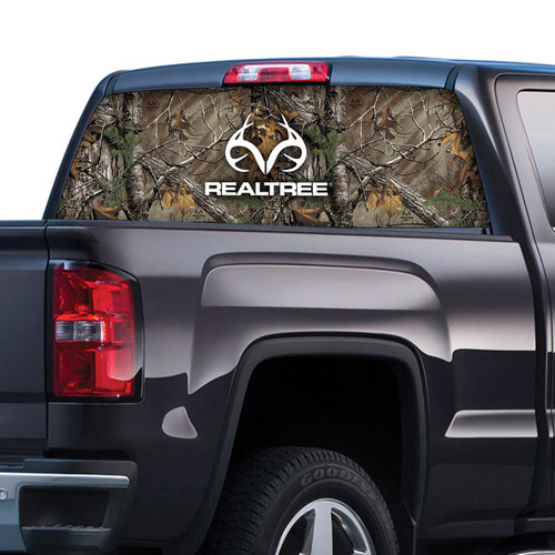 Realtree Logo and Camo Rear Window Film in Xtra