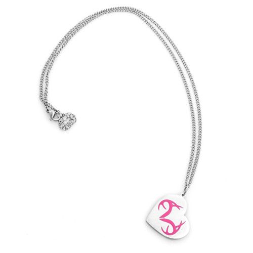 Stainless steel Realtree Pink Heart pendant with Chain