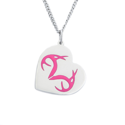 Stainless Steel Realtree Pink Heart pendant