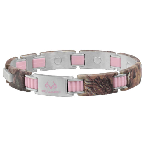 Realtree Stainless Steel Pink Link Magnetic Bracelet Image