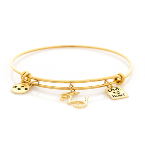 Realtree Love to Hunt Charm Bangle Bracelet Gold Flat