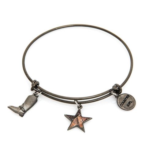 Realtree Country Girl Charm Bangle Bracelet in GunMetal