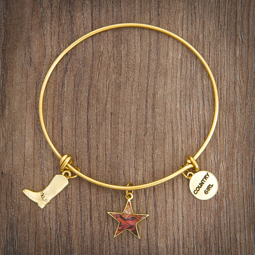 Realtree Country Girl Charm Bangle Bracelet Gold on Wood