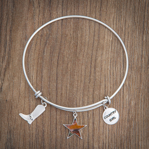 Realtree Country Girl Charm Bangle Bracelet Silver on Wood