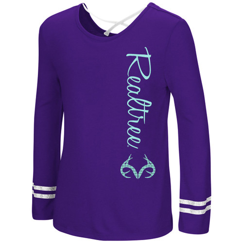 Girl's Purple Long Sleeve Glitter and Sequin Strappy Back Shirt