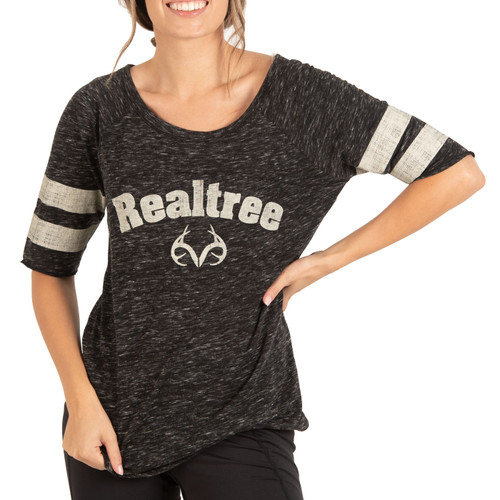 Women's Black Speckled Yarn Raglan Shirt