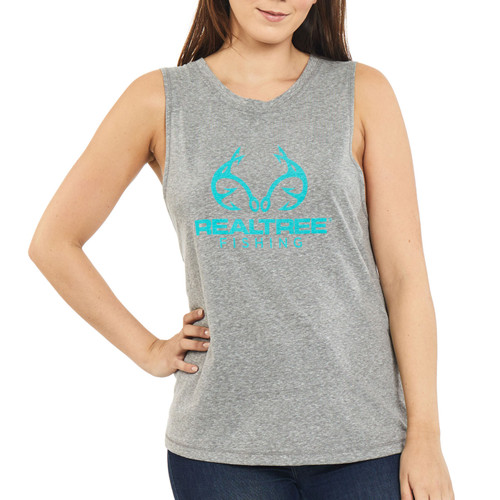 Women's Fishing Tie-Back Tank Gray