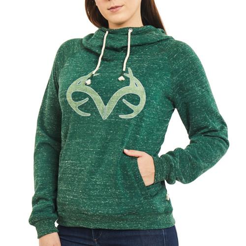 Women's Speckled Fleece Cowl Neck Hoodie in Green