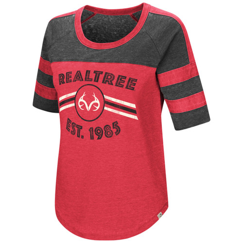 Women's Double Stripe Burnout Shirt Red