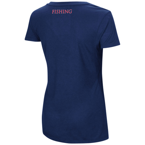 Women's Dual Blend V-neck Shirt Navy Back