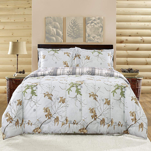 Realtree Reversible Gray Camo Comforter Set