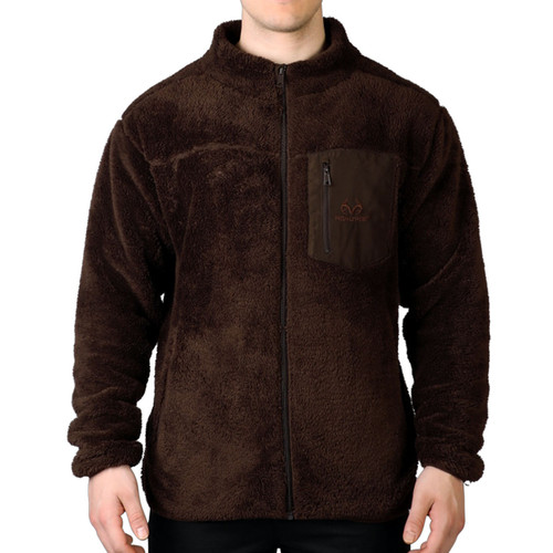 Men's Sherpa Fleece Full Zip Jacket with Media Pocket in Brown