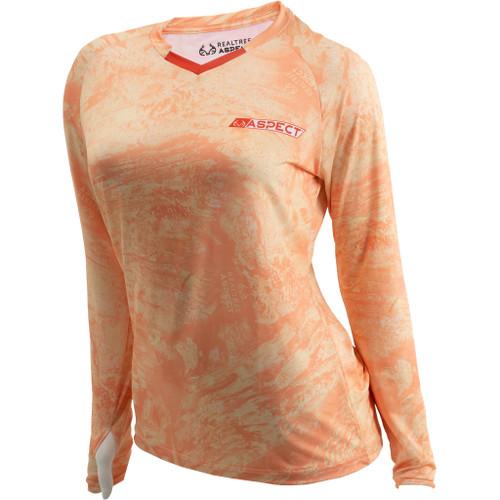 Women's Realtree Aspect Orange Sorbet Fishing Performance Long Sleeve Shirt