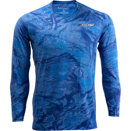 Men's Realtree Aspect Royal Blue Fishing Performance Long Sleeve Shirt