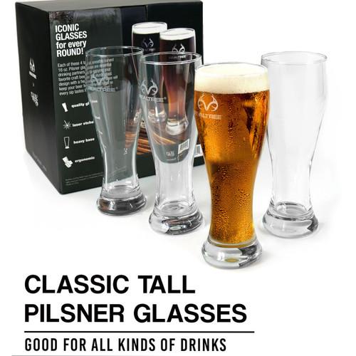 Realtree Pilsner Beer Glasses - Set of 4