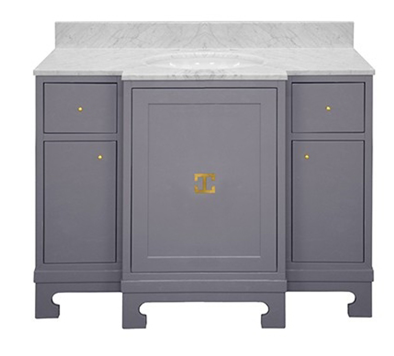 Worlds Away Alice Gray Lacquer Bath Vanity With Gold Leaf Hardware And White Carrara Marble Top
