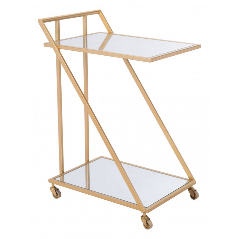 Zuo Alto Bar Cart Mirror & Gold 101479