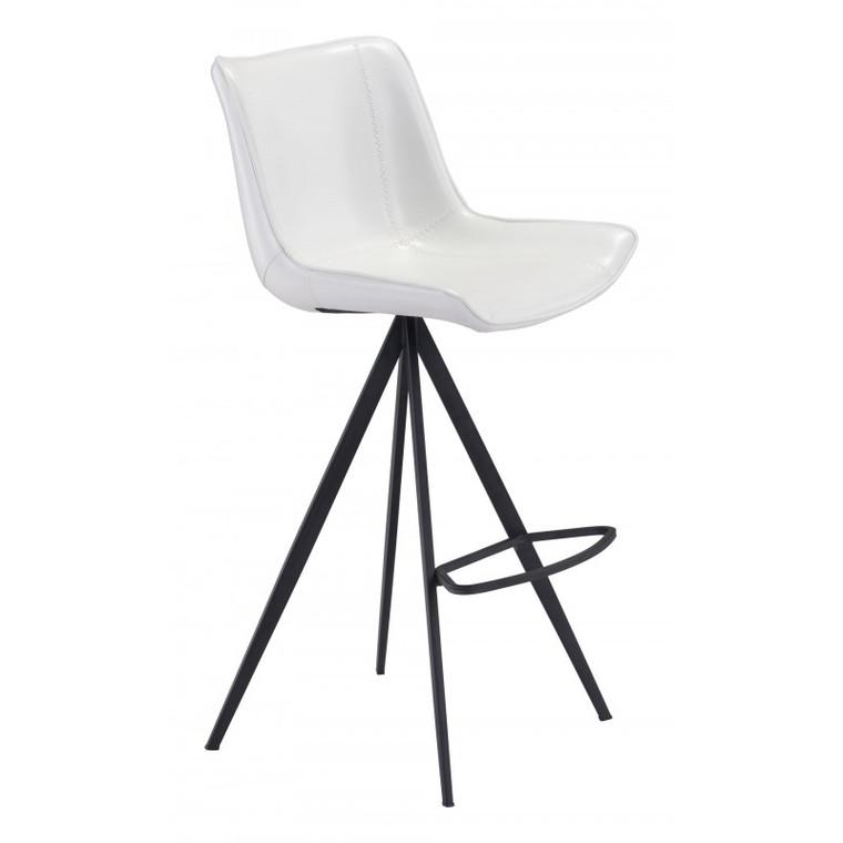 Zuo Aki Bar Chair White & Black (Set of 2) 101287