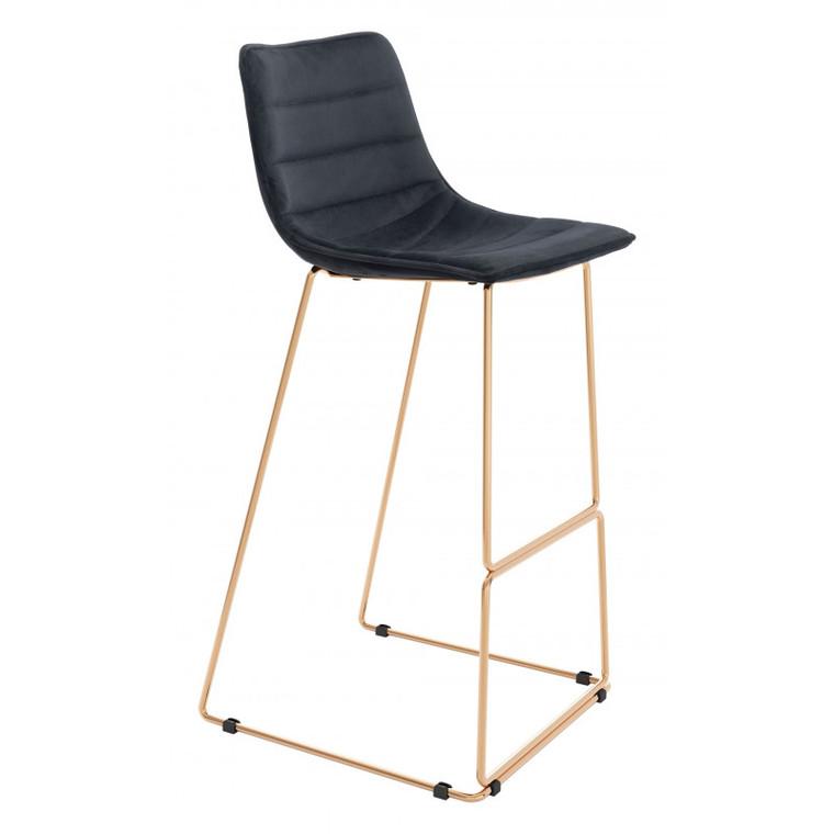 Zuo Adele Bar Chair Black & Gold 101461
