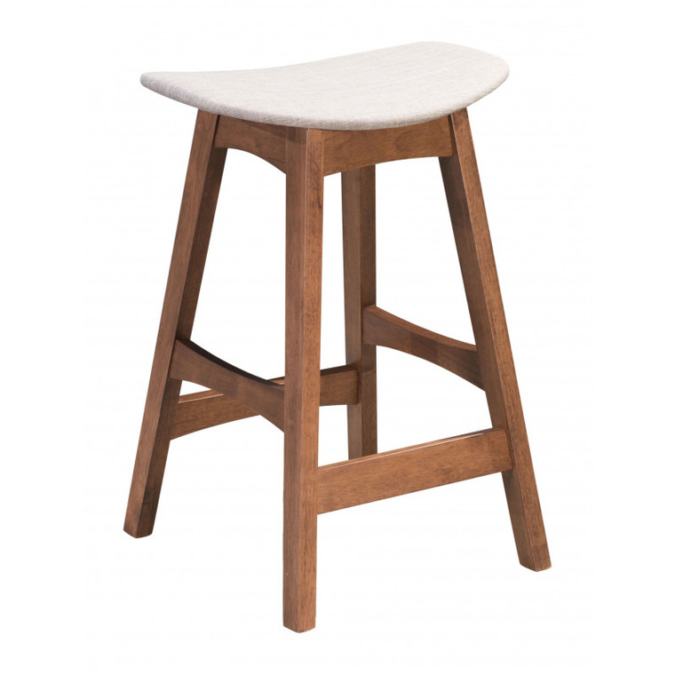 Zuo Allen Counter Stool Dove Gray & Walnut (Set of 2) 100956