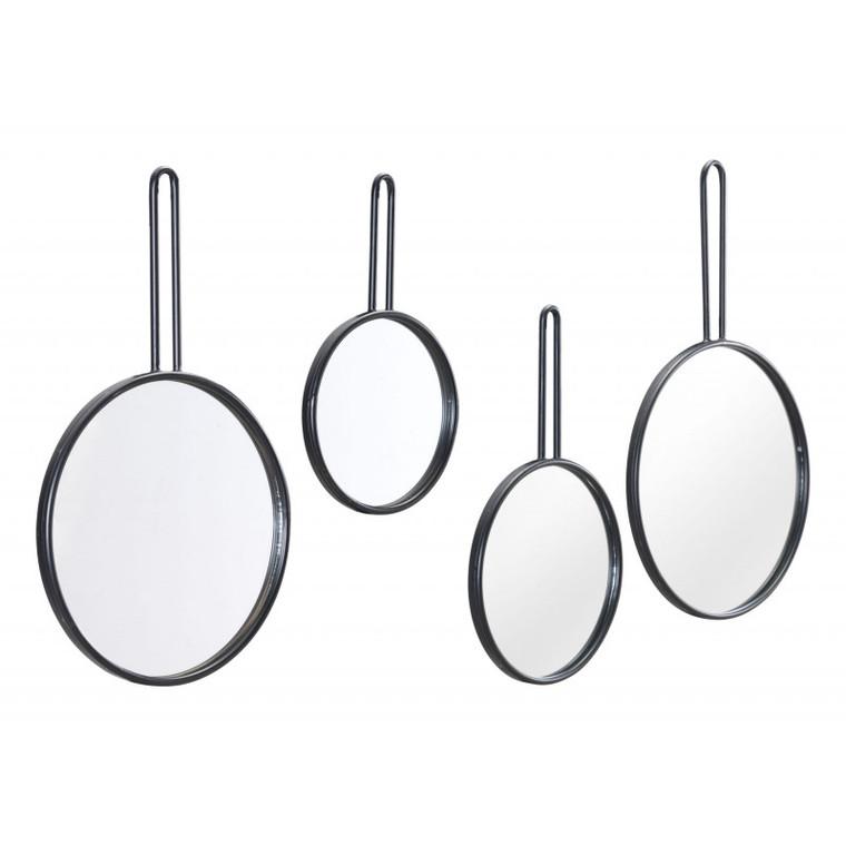 Zuo Set Of 4 Round Mirrors Black A11633