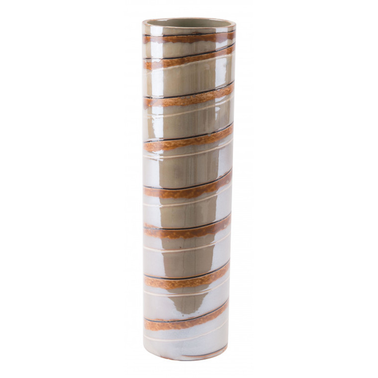 Zuo Lined Lg Vase Brown A10215