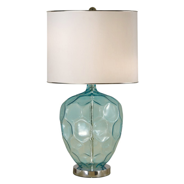 Thumprints Abyss Table Lamp in Translucent Turquoise / Polished Nickel