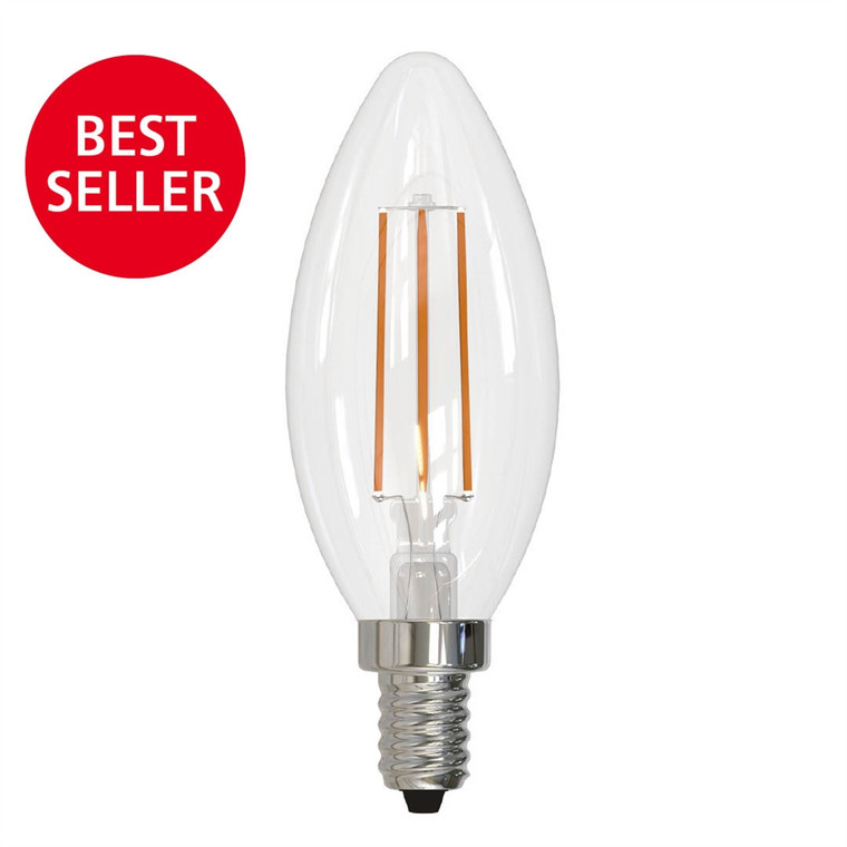 Bulbrite: 776626 LED Filaments: Bright & Warm Fully Compatible Dimming, Clear Watts: 5 - LED5B11/27K/FIL/E12/3 (10 Pack)