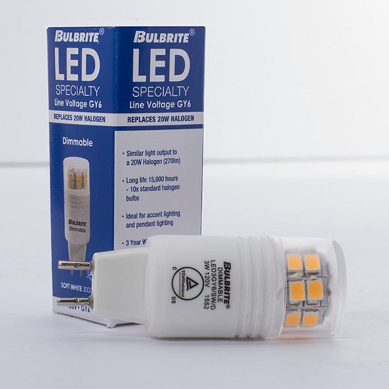 Bulbrite: 770560 LED Specialty Minis 12V/120V: GY6, G8, G9 Watts: 3 - LED3GY6/SW/D (5 Pack)