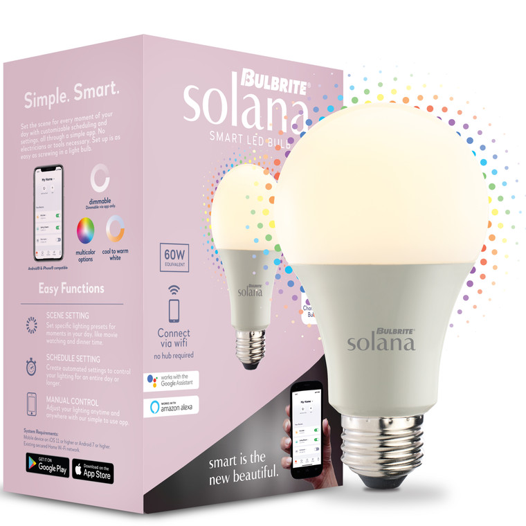 Bulbrite Solana 195120 SMART LED SMART LED Tunable White & Colors: A19 Watts: 8 - SL8WA19/WC/FR/1P (1 Pack)
