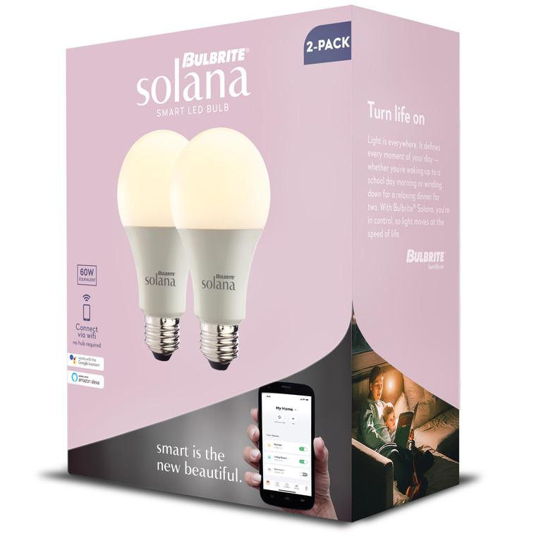 Bulbrite Solana 190121 SMART LED SMART LED Tunable White: A19, BR30 Watts: 8 - SL8WA19/W/FR/2P (1 Pack)