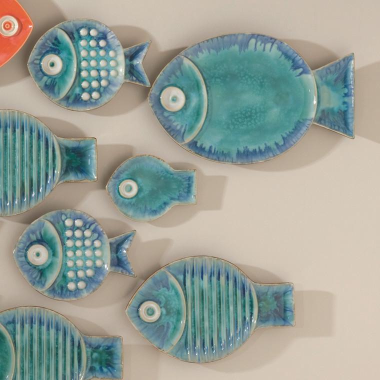 Global Views Blue Fish Plate-Med 8.80733