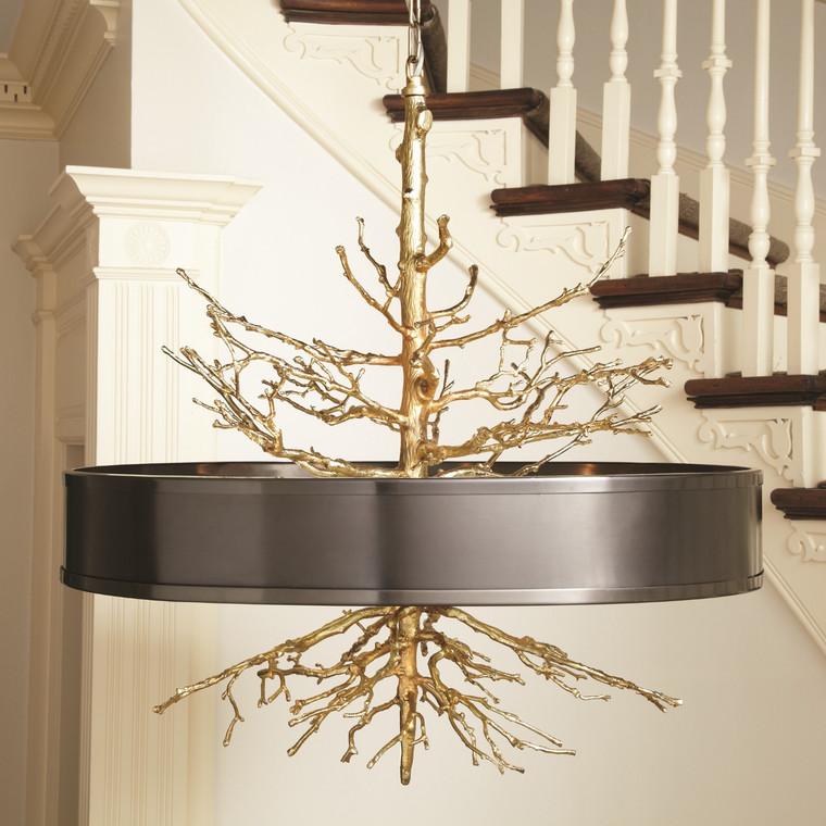 Global Views Twig Pendant-Brass w/Bronze Shade 9.91799