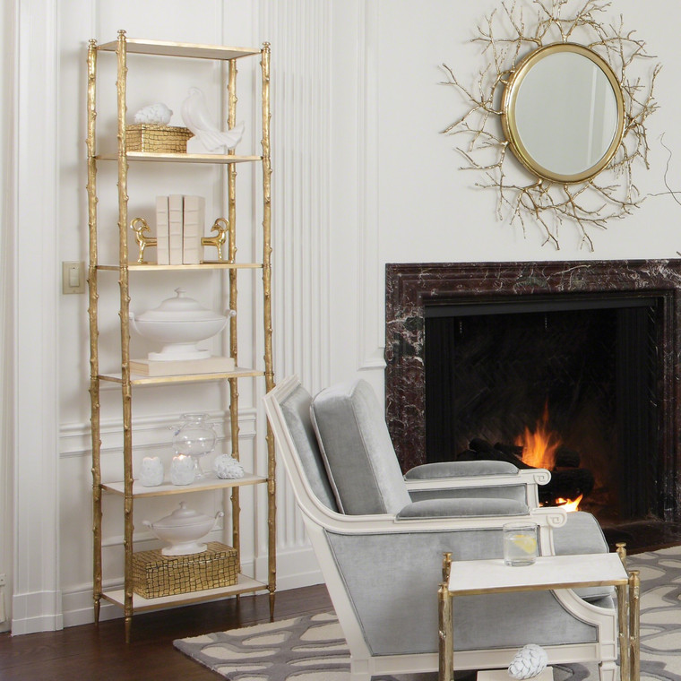 Global Views Arbor Etagere-Brass/White Marble 8.82035