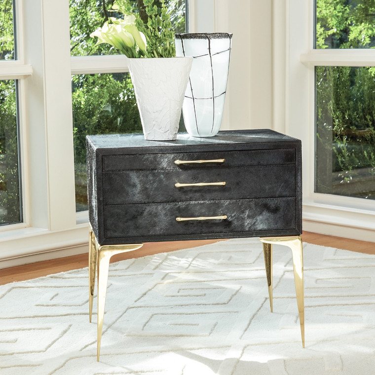 Global Views Stiletto Bedside Table-Black Hair-on-Hide 9.92719