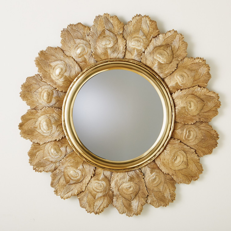 Global Views Peacock Feather Mirror-Brass 9.92680