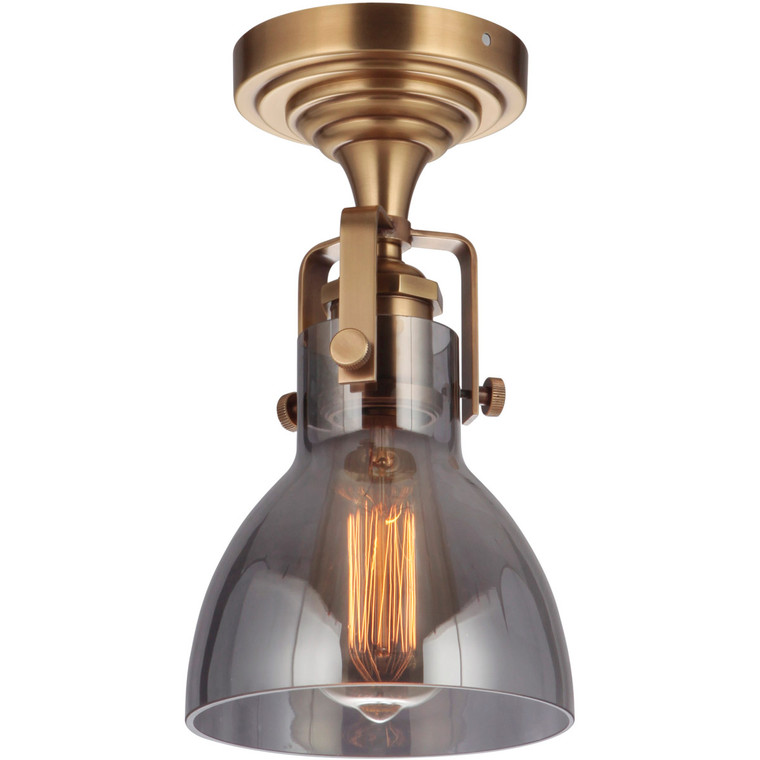 Craftmade Gallery State House 1 Light Semi Flush in Vintage Brass X8317-VB