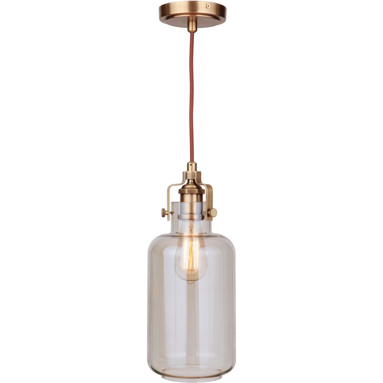 Craftmade Gallery State House 1 Light Mini Pendant w/Cord in Vintage Brass with Clear Glass P833VB1-C