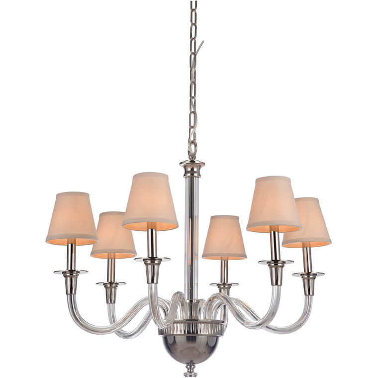 Craftmade Gallery Deran 6 Light Chandelier in Polished Nickel 48026-PLN