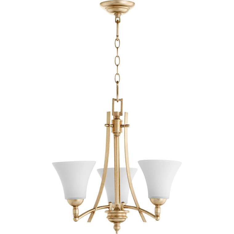 Quorum Aspen Chandelier in Aged Silver Leaf with Satin Opal 6177-3-60