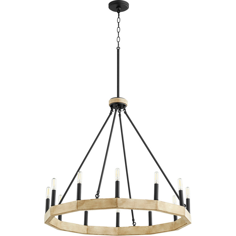 Quorum Alpine Chandelier in Noir with Driftwood finish 6189-12-69
