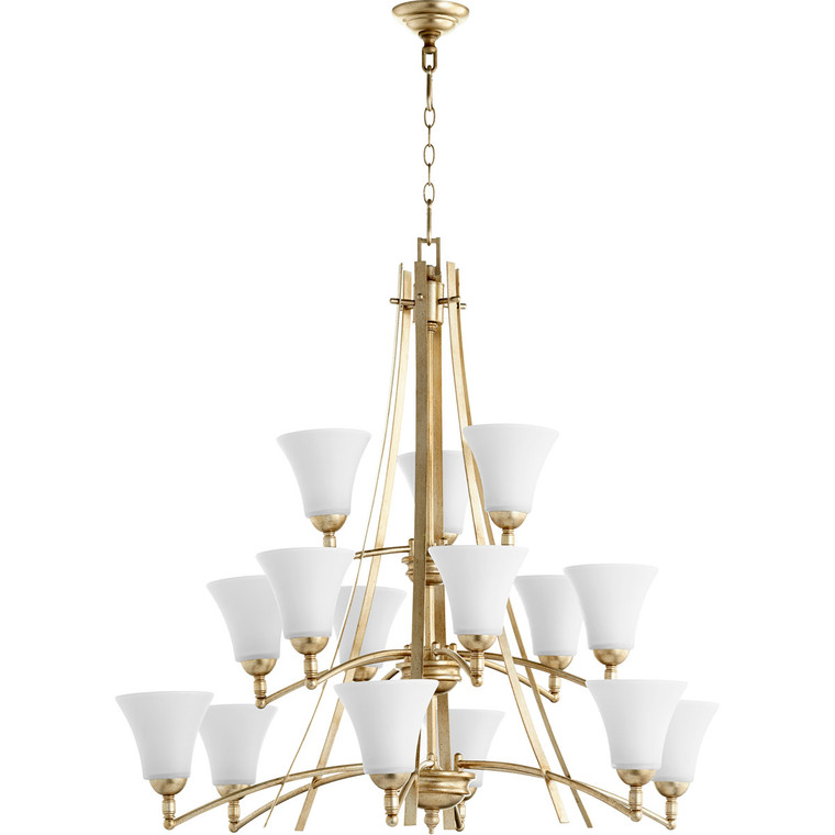 Quorum Aspen Chandelier in Aged Silver Leaf with Satin Opal 6177-15-60
